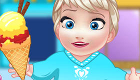 Baby Elsa Making Ice Cream
