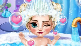 Baby Elsa in the Bath